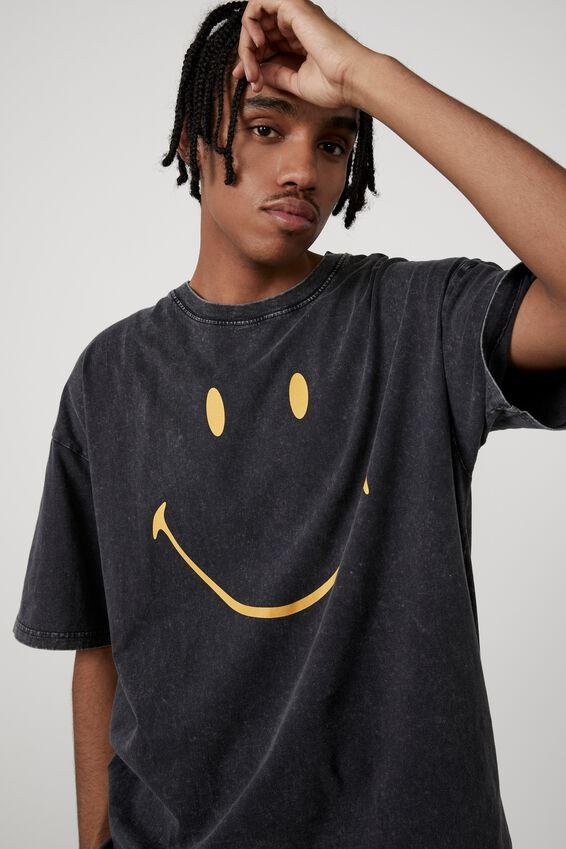 Oversized Smiley T Shirt, LCN SMI WASHED BLACK/SIMPLE SMILEY