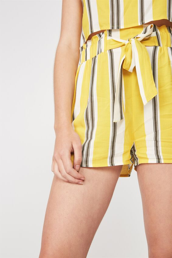 Paperbag Woven Short, YELLOW STRIPE