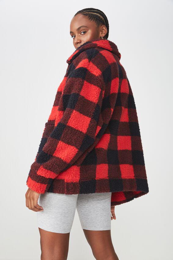 Teddy Zip Jacket, BLK/RED CHECK