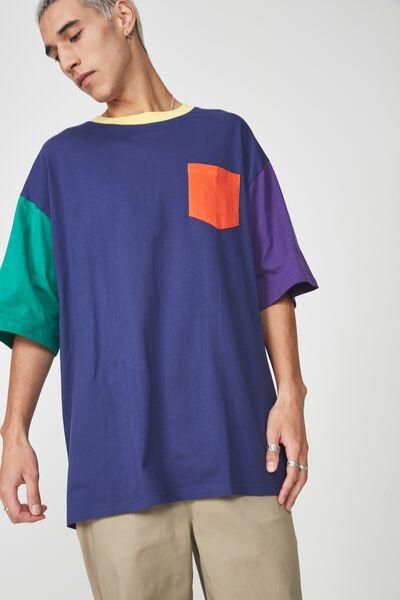 Colourblock T Shirt, NAVY MULTI