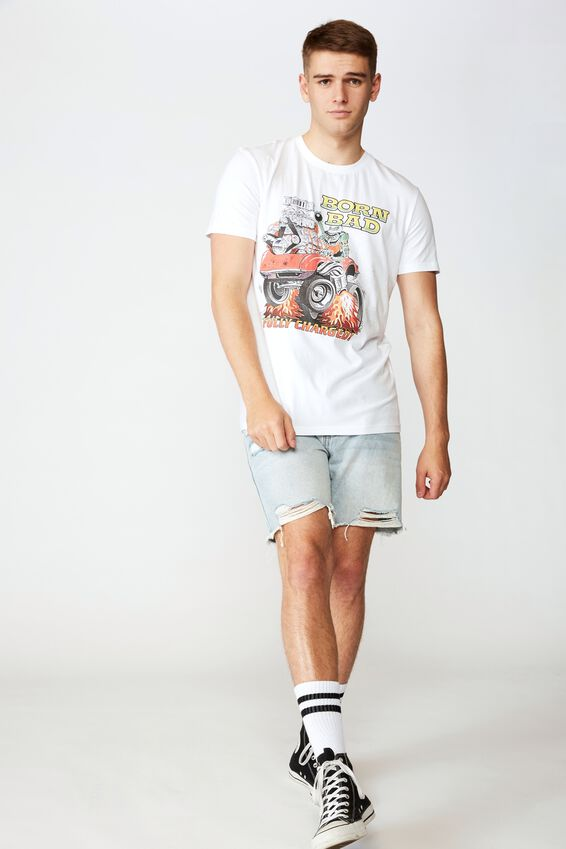 Slim Graphic T Shirt, WHITE/BORN BAD