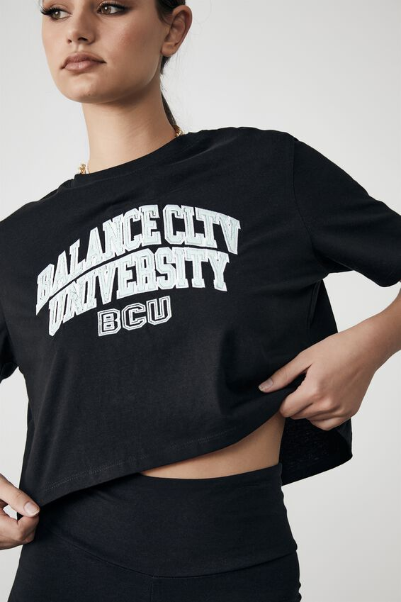 Short Sleeve Crop Graphic T Shirt, BLACK/BALANCE UNIVERSITY