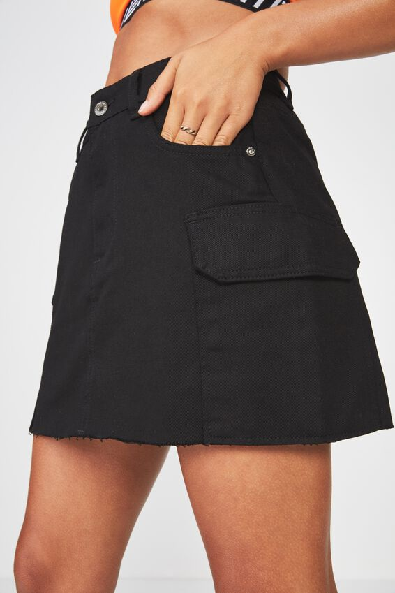 Utility Denim Skirt, BLACK