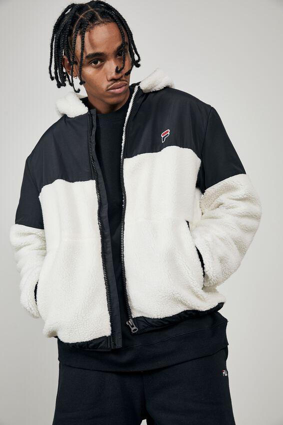 Fila Lcn Contrast Sherpa Jacket, TAN