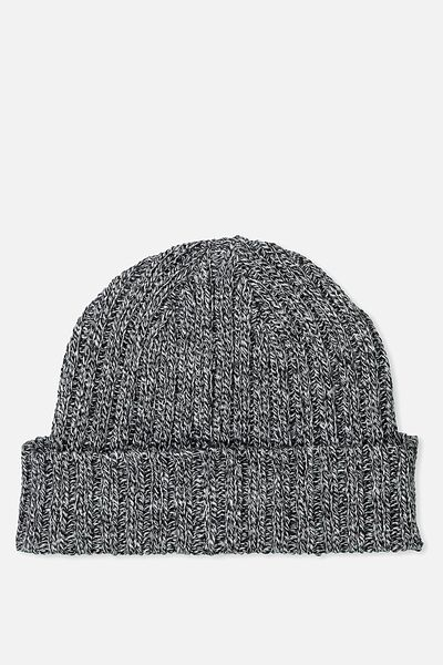 Fishermans Beanie, BLK/WHITE TWIST