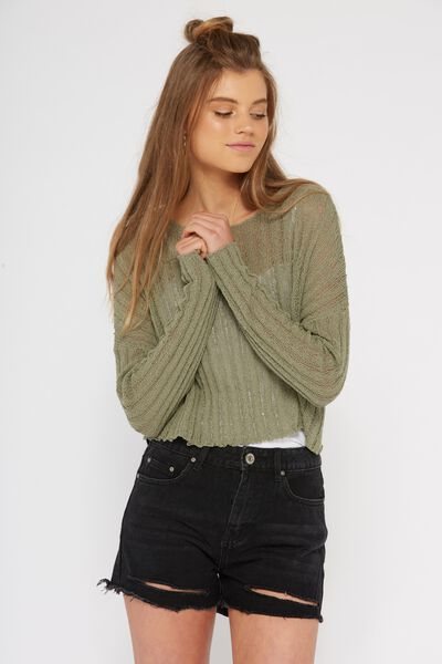 Rachel Ribbed Crop Knit, TEA