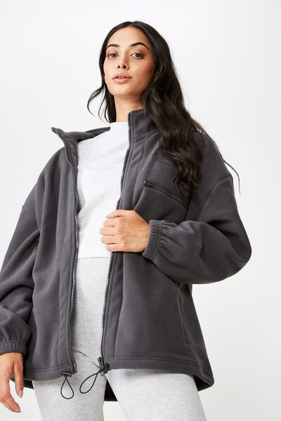 Polar Fleece Jacket, ASPHALT