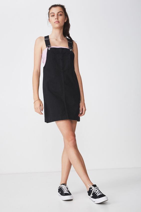 Classic Denim Overall Dress, BLACK