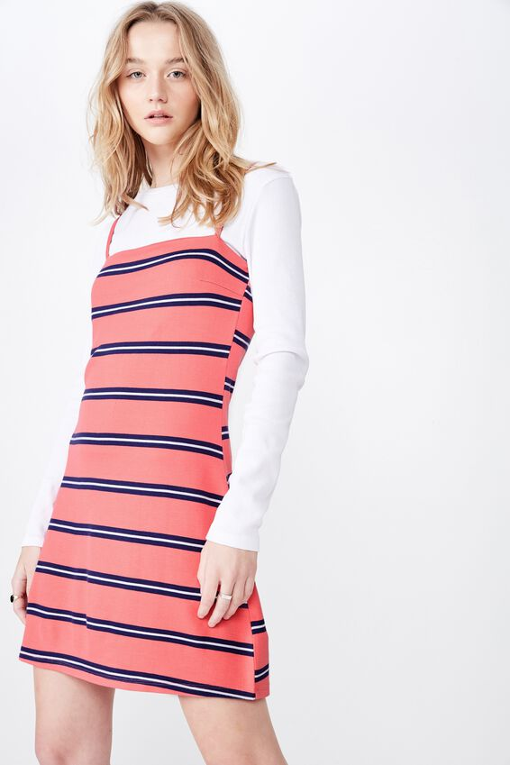 Stripe Ponte Dress, KYLA STRIPE SUNSET CORAL
