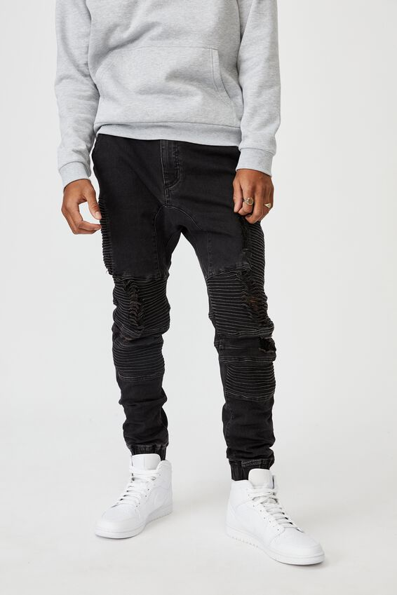 Moto Denim Cuffed Jean, ALMOST BLACK DISTRESSED