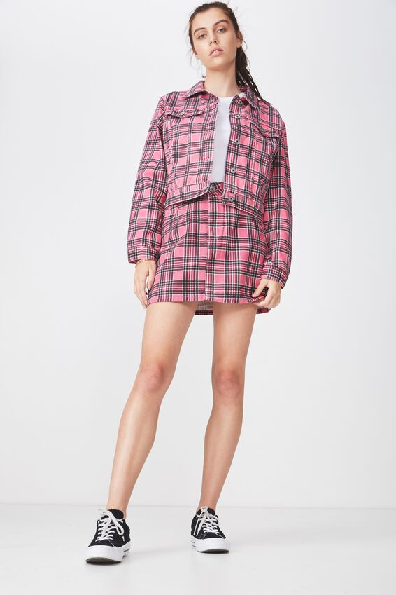 Co-Ord Denim Skirt, PINK CHECK