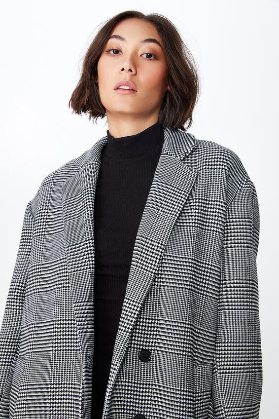 Check Duster Coat, BLACK & WHITE CHECK