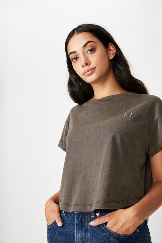 Short Sleeve Crop Fct Tshirt, ASPHALT