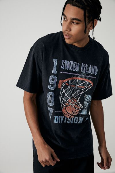 Oversized Graphic T Shirt, WASHED BLACK/STATEN ISLAND