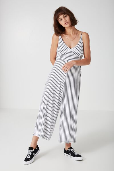 Flare Stripe Jumpsuit, STRIPED