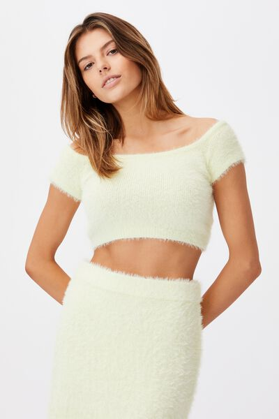 Fluffy Knit Off The Shoulder Top, LIME CREAM