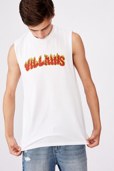Graphic Muscle Tank, WHITE/FLAMIN VILLAINS