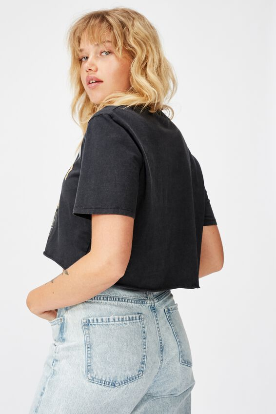 Short Sleeve Raw Edge Crop T Shirt, HIGHWAY COLORADO/WASHED BLACK