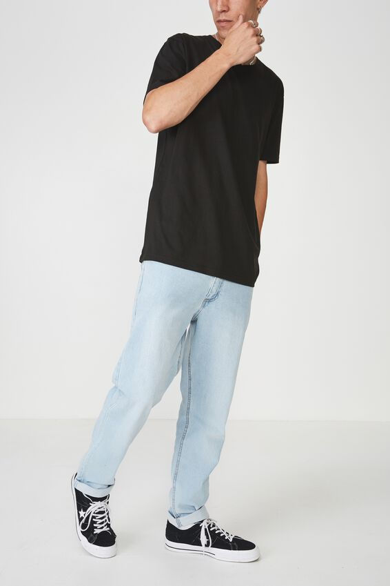 Denim Straight Leg Stretch Jean, LIGHT BLUE