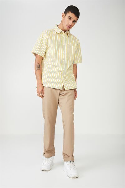 Ss Oversized Shirt, YELLOW/BLACK/WHITE STRIPE