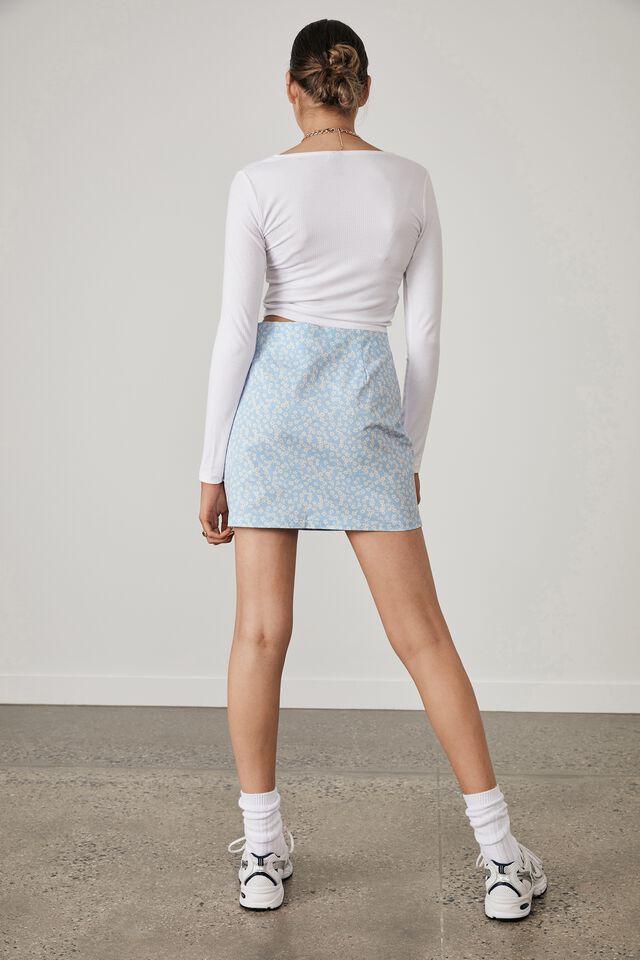 Double Split Mini Skirt, KITA FLORAL_SKYWAY