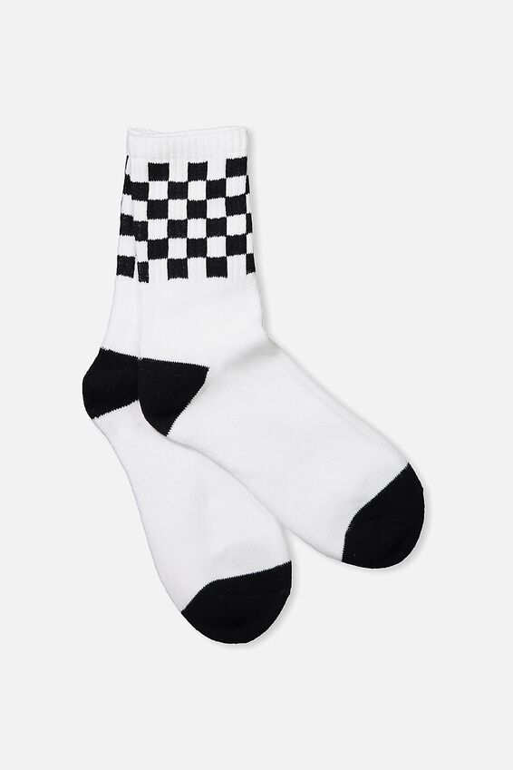 Retro Sport Sock, WHITE/BLACK CHECK