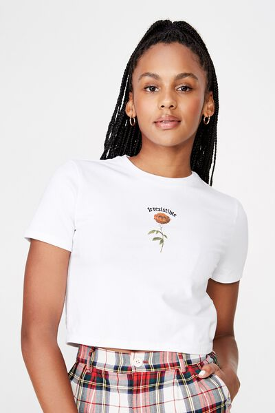 Fitted Graphic T Shirt, WHITE/DANGEROUS ROSE
