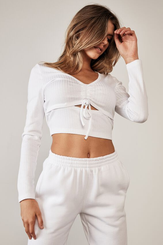 Ls Ruched Cut Out Top, WHITE
