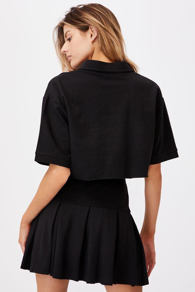 Short Sleeve Crop Polo Top, BLACK