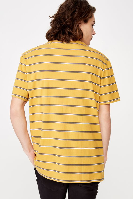 Embroidered Stripe T Shirt, YELLOW/DROP OUT STRIPE