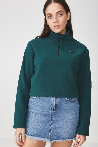 Fila Lcn Half Zip Funnel Neck Jumper, BOTANICAL GREEN