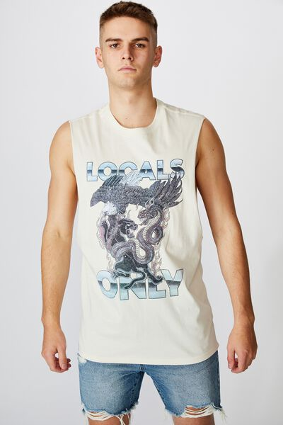 Graphic Muscle Tank, IVORY/LOCALS ONLY