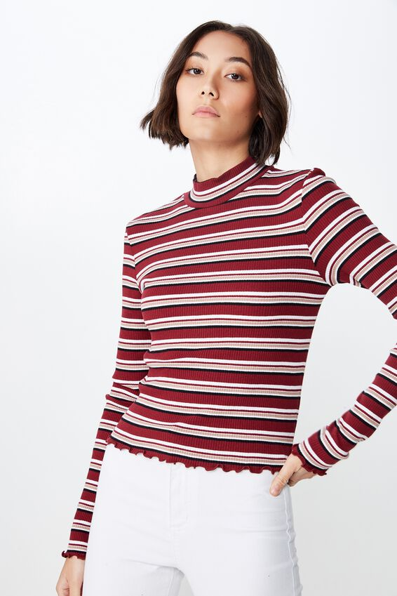 Stripe Rib Lettuce Edge Long Sleeve, KENNY STRIPE_CABERNET