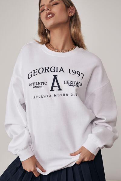 Oversized Graphic Crew, WHITE/GEORGIA