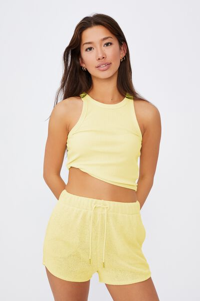 Textured Jersey Pull On Sporty Short, TENDER YELLOW