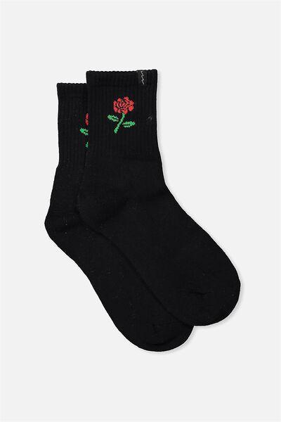 Retro Sport Sock, BLACK ROSE