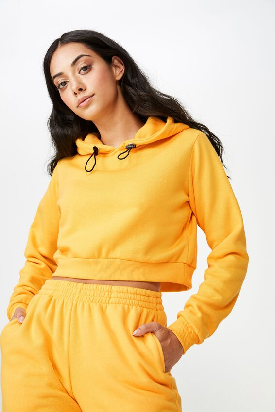 Classic Crop Hoodie, OLD GOLD