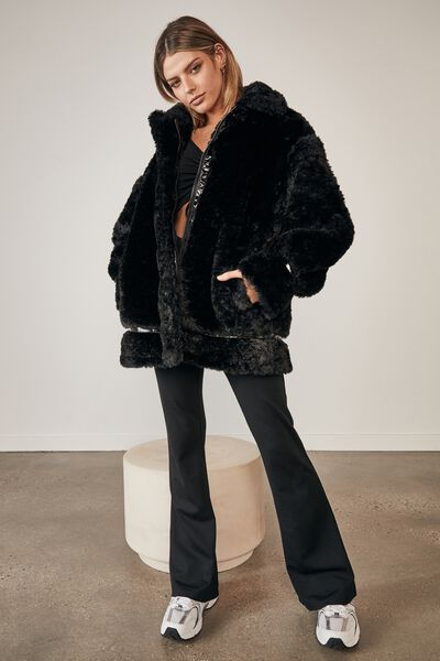 Oversized Fur Teddy Jacket, BLACK