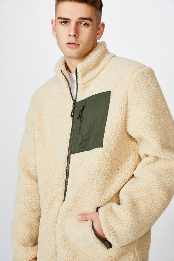 Sherpa Zip Through Jacket, IVORY