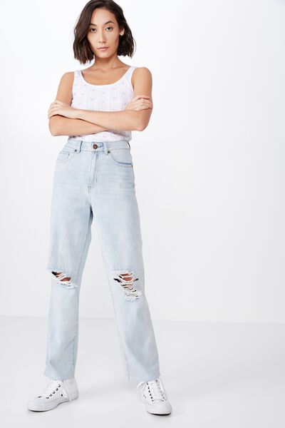 Relaxed Fit Jean, BLEACH WASH DISTRESSED