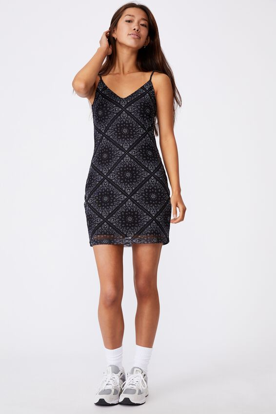 Mesh V Neck Dress, TRADITIONAL BANDANA
