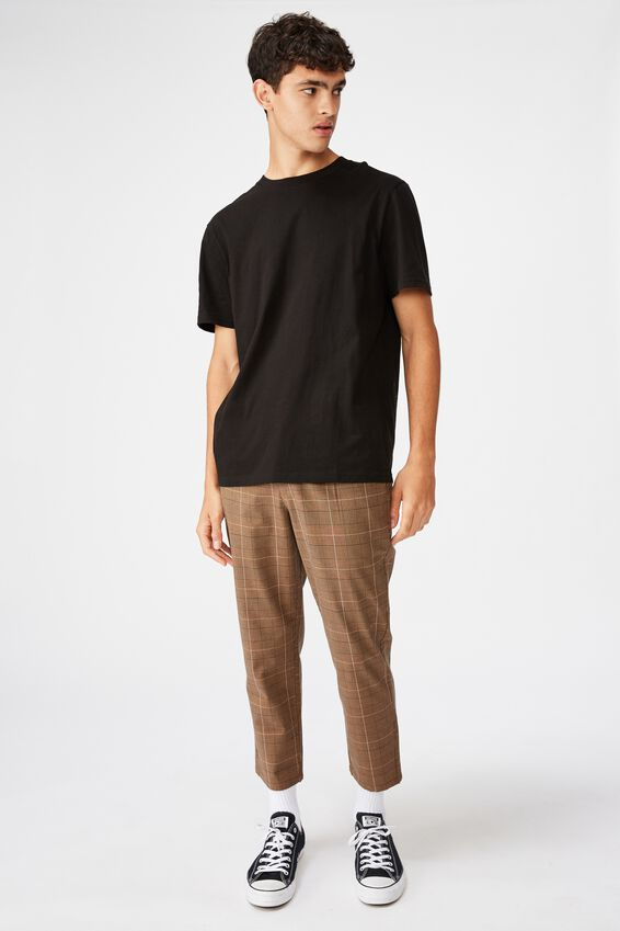 Relaxed Tapered Leg Pant, TAN NORFOLK CHECK