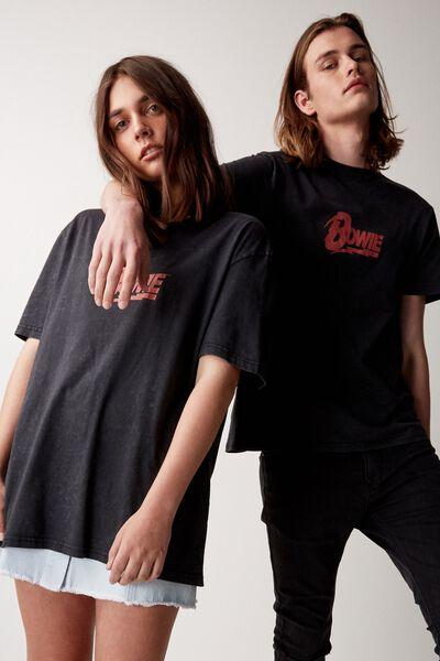 Regular License T Shirt, WASHED BLACK/BOWIE