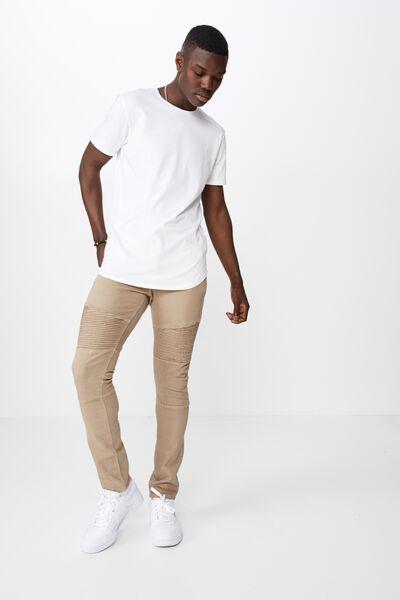 Skinny Leg Moto Denim Jean, DARK SAND