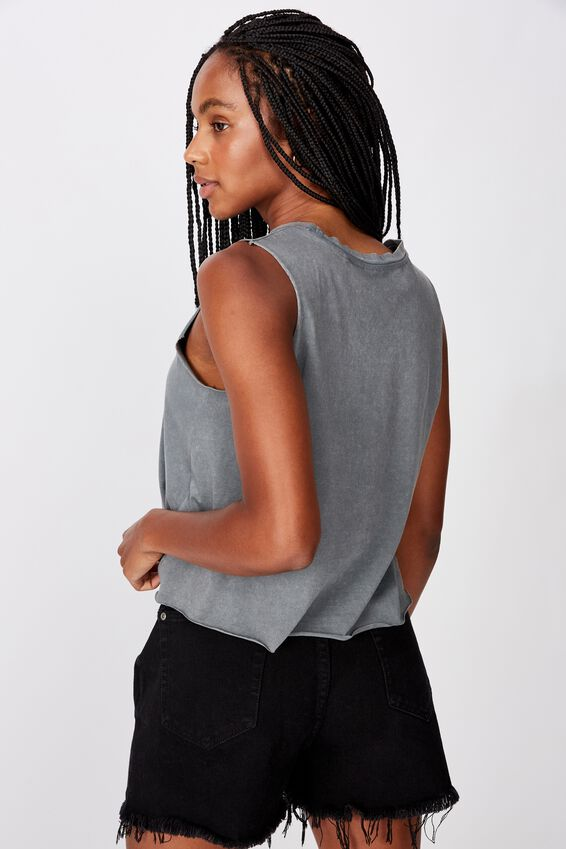 Graphic Tank, WASHED GREY/TAINTED HEART