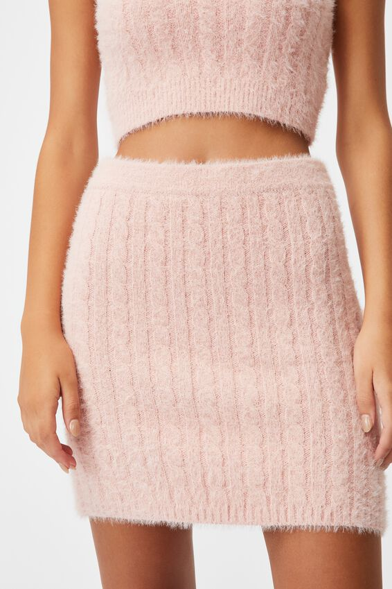 Fluffy Knit Cable Mini Skirt, SILVER PINK