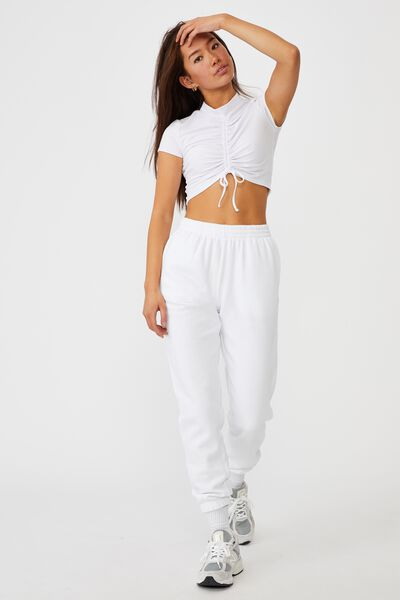 Short Sleeve Pull Front Funnel Neck Top, WHITE