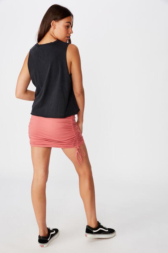 Gathered Side Seam Skirt, BRICK RED