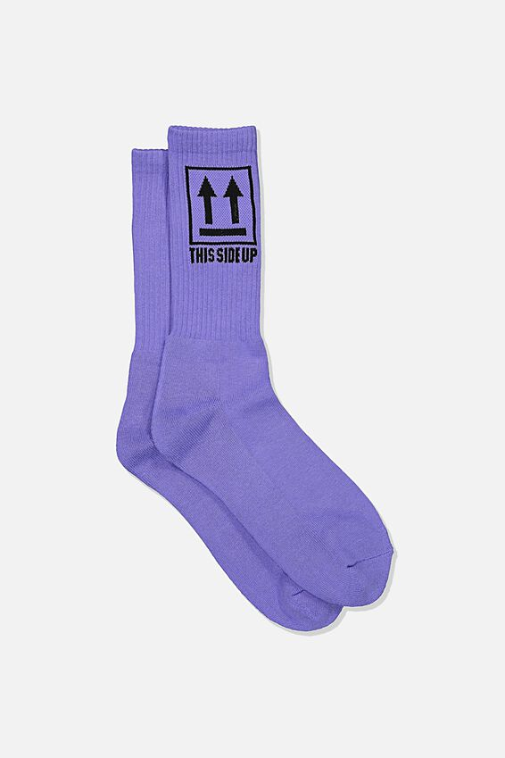 Retro Ribbed Socks, THIS IS UP_ VIOLET TULIP