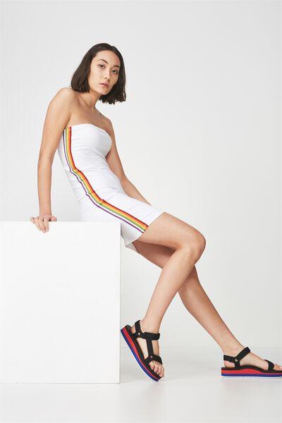 Strapless Stretch Mini Dress, WHITE_RAINBOW TAPE